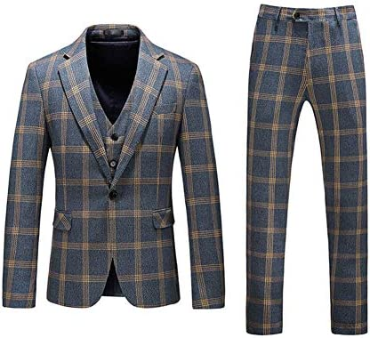 Mens Plaid Tweed 3 Piece Suit Slim Fit One Button Dinner Suit Tuxedo Green X Large product image