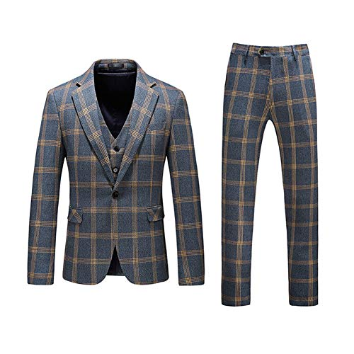 Men's Modern Plaid 3-Piece Suit Slim One Button Blazer Jacket Flat Front Pants Blue,Medium
