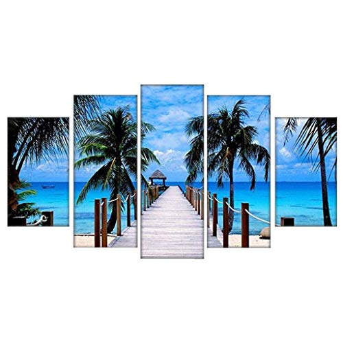 Shan-S 5 Piece Canvas Painting Modern Wall Sticker Removable Paintings for Living Room Wall Art 3D Beach Lilies Flowers Landscape Pictures Wallpaper Modular HD Prints Poster Mural Home Decor