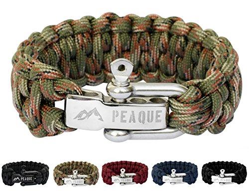 PEAQUE Survival Armband aus Paracord - inkl. eBook - Verstellbarer Edelstahlverschluss - breites Überlebens-Armband aus echter Fallschirmschnur (Army Camouflage)