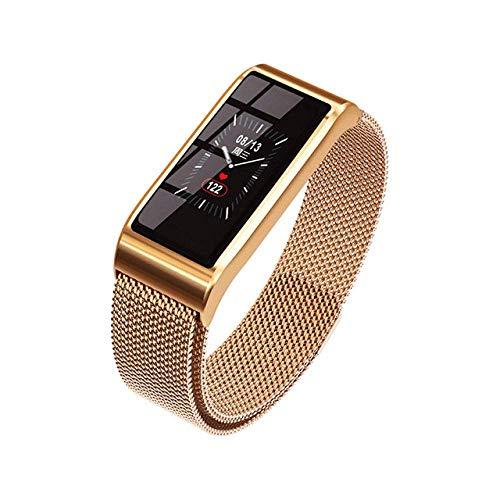 Inteligente Wristband_Smart Muñequera Impermeable Presión Arterial Brazalete Bluetooth Reloj Del Metal Del Rastreador de Ejercicios Negro,Oro