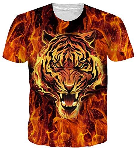 Goodstoworld para Mujer Tigre en Fuego Camiseta de impresión 3D Summe