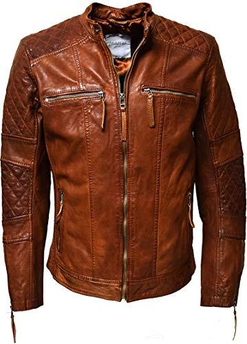 Zimmert Heren Leather Jacket Alex in Whisky Brown Lammnappa Leer