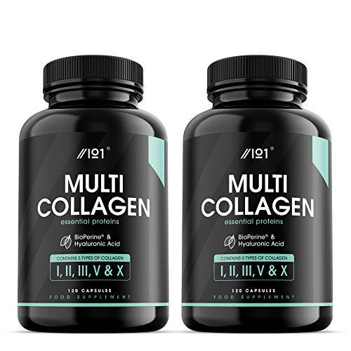 Complesso al Multi Collagene - 5 tipi di Collagene di Origine Alimentare - Bovino Nutrito ad Erba Idrolizzata, Pesce e Pollo non di Allevamento, con Acido Ialuronico e BioPerine®, 120 pz (2 Pack)