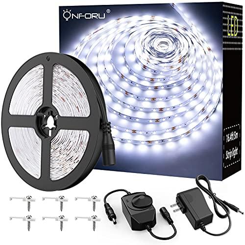 Onforu 16.4ft LED Strip Light, 6000K Daylight White Dimmable Tape Light, 5m 12v Ribbon Light, 2835 LEDs Flexible Vanity Mirror Light for Home, Kitchen, Under Cabinet, Bedroom, Non-Waterproof