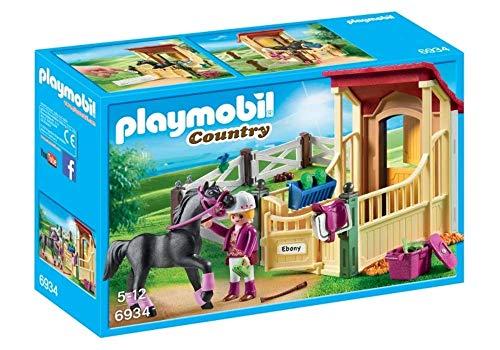 PLAYMOBIL Country 6934 - Scatola per cavalli non definita con cavallo nero e dettagli viola, per bambini dai 5 anni in su