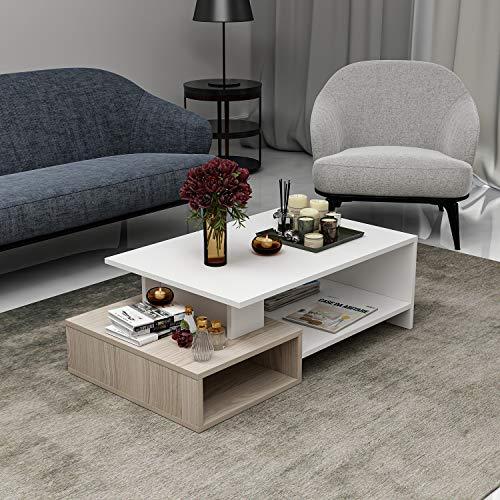HOMIDEA Dux Tavolino Basso da Salotto - Materiale in Legno - Tavolino da Divano - Tavolino da caffè Moderno in Un Design alla Moda con mensola (Bianco/Avola)