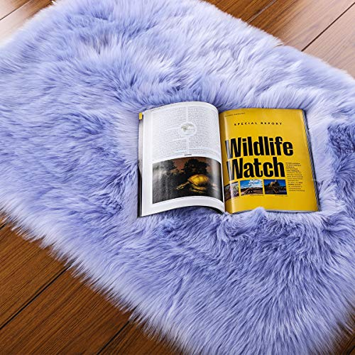 LOCHAS Ultra Soft Fluffy Rugs Faux Fur Sheepskin Area Rug for Bedroom Bedside Living Room Carpet Nursery Washable Floor Mat, 2x3 Feet Lavender