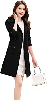 osemy Women Slim Fit Lapel Mid-Length Trench Coat Jacket Double Breasted Outwear with Belt S-5XL Black
