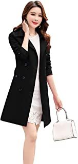 womens black slim fit trench coat