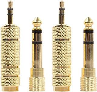 hudiemm0B Adaptador, 4Pcs Golden 6.35mm Enchufe Macho A 3.5mm Jack Hembra Adaptador De Audio para Auriculares Estéreo