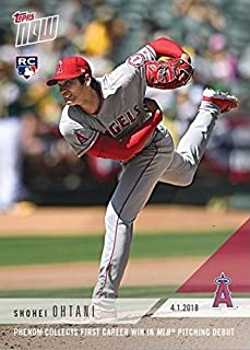 2018 Topps Now Baseball #23 Shohei Ohtani Rookie Card - Earns 1st Career Win in MLB Pitching Debut - English Edition