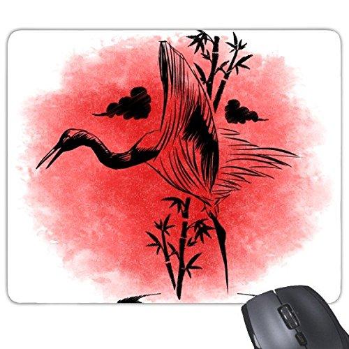 DIYthinker Japan Kultur Japanische Art-Staatsflagge Rot Schwarz Bambuskran-Wolke Skizze Kunst Illustration Muster Rechteck Griffige Gummi Mousepad Spiel-Mausunterlage