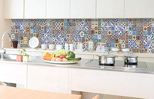 DIMEX LINE Paraschizzi Auto-Adesiva per la Cucina Portogallo Piastrelle 350 x 60 cm   Resistente all'Acqua   QUALITA' Premium