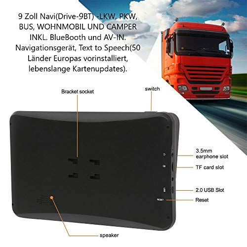 9 Zoll Navigationsgerät Navi Navigationssystem DRIVE-9BT für LKW, PKW, Camper. 50 Länder Europas, HQ TMC Verkehrsfunkempfänger, Text-to-Speech, Bluetooth. AV-IN