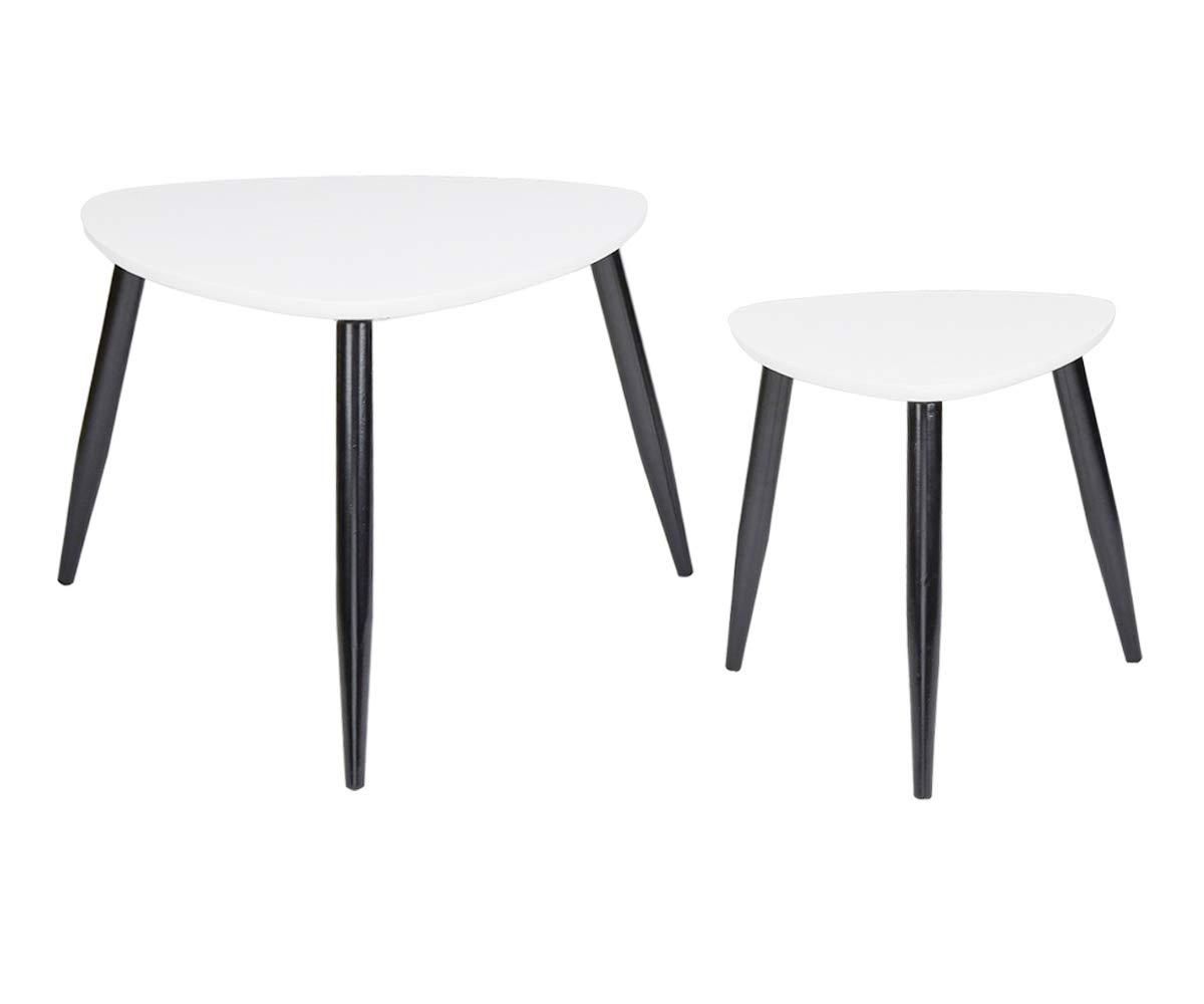 2pcs Nesting Coffee Tables Modern Decor Side End Table Black//Rubber Wood Legs