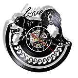 qweqweq Reloj de Pared LED Puppy Heart Admiralty de Real Vinyl Reloj con lámpara Brillante de diseño Retro