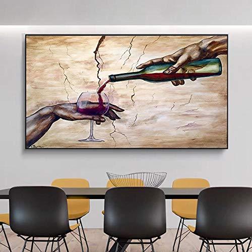 DCLZYF Arte Abstracto Moderno con Dos Manos, Carteles e Impresiones de Copas de Vino Tinto, Pinturas en Lienzo, Cuadros artísticos de Pared para la decoración de la Sala de Estar, 60x90cm sin Marco