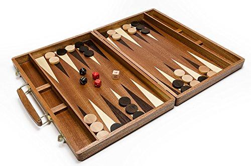 Wooden Magic Backgammon Reale Scuro - Grande 50cmm / 19,7 in Backgammon in Legno Artigianali Fatte a Mano