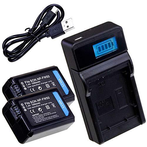 LUMOS Cargador y 2 baterías NP-FW50 para Sony Alpha 6000 6100 6300...