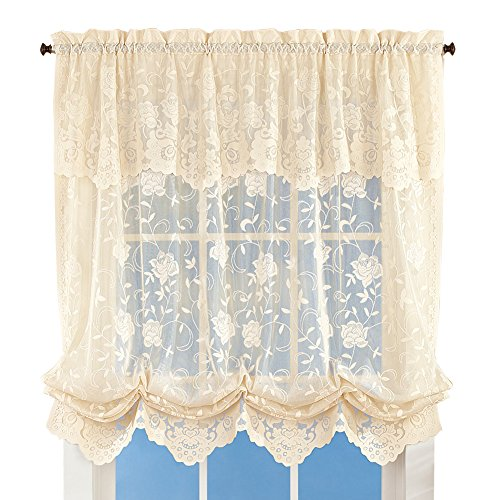 Collections Floral Sheer Lace Tie-up Balloon Shade Window Curtain with Scalloped Edges and Rod Pocket Top for Easy Hanging, Ivory
