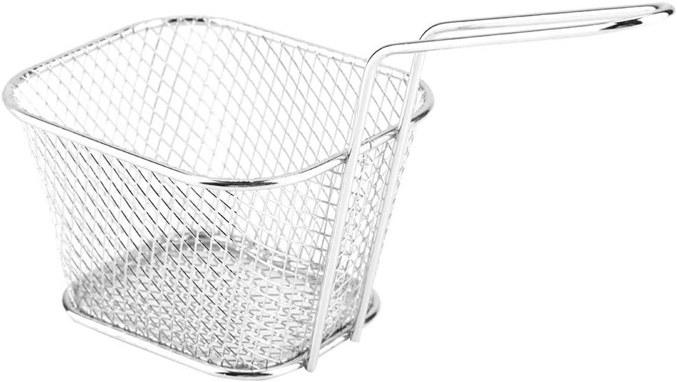 Mini cesta para freír-Mini cestas para patatas fritas de acero inoxidable con asa Cestas para freír para servir patatas Cestas para patatas fritas para camarones Aros de cebolla
