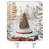 lovedomi Feliz Navidad Cortina Ducha Árbol Navidad Navidad Pino Copos Nieve Feliz año Nuevo Creativo Vacaciones Invierno Moda Niños Decoración para bebés Tela Cortina baño 72x72IN con Ganchos Blanco