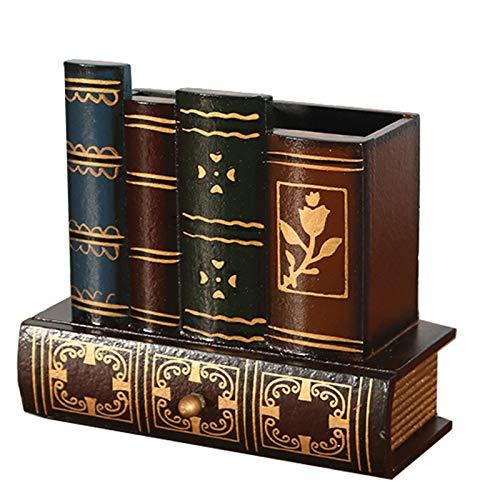 Retro houten penhouder Multifunctioneel opslag, simulatie boek ontwerp, bureau opbergdoos decoratie gift,Brown