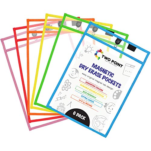 Magnetic Dry Erase Pockets by Two Point (6-Pack) - Plastic Sleeves | Teaching Supplies | Dry Erase Sheets | Dry Erase Sleeves | School Supplies for Teachers | Job Ticket Holders | Office Products