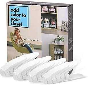 BIGLUFU - Zapatero organizador ajustable (20 unidades), color blanco