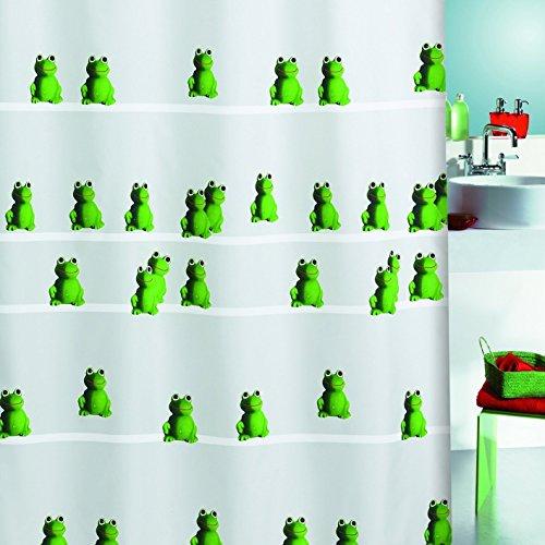 Spirella Quack Green Frog Grün mit Frosch Textil Duschvorhang 180 x 200 cm. Markenware