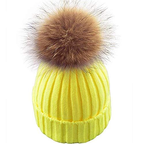 feifanshop Damen Echtfell Waschbär Fell Pelz Bommel Strick Mütze Winter-Mütze Bommelmütze (Neon Gelb)