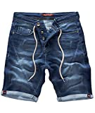 Rock Creek Herren Sweat Shorts Jeansshorts Denim Short Kurze Hose Herrenshorts Sommer Sweatshort Stretch Bermudas Dunkelblau RC-2200 Harbour Blue W31