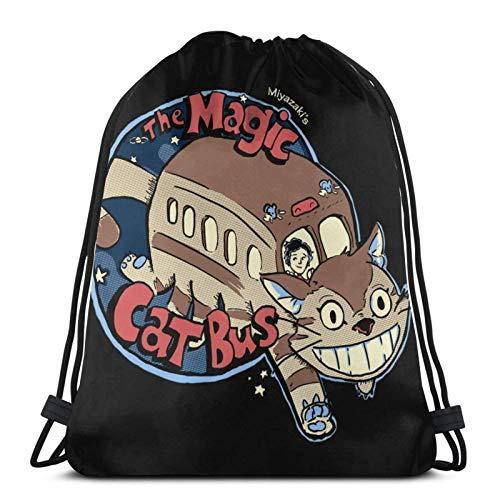 IUBBKI The Magic Catbus Kordelzug Rucksack Gym Sack Pack Solid Cinch Pack Sinch Sack Sport String Bag Mit Tasche Strandtasche Geschenk Für Männer Frauen
