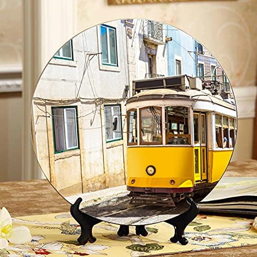 ALALAL Yellow Al sold out. Tram On Narrow Decorations Deco Department store Table Plate Street