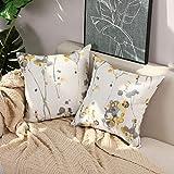 Basic Model Pack de 2 fundas de cojín de poliéster con diseño de pétalos de flores, color pastel, abstracto, multicolor, romántico, para sofá, hogar, 45 x 45 cm