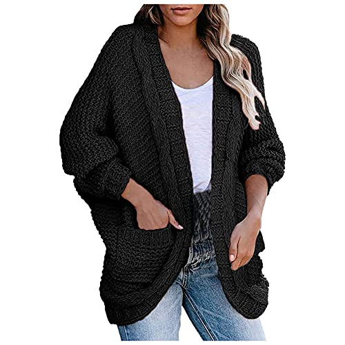 Women Fall Long Sleeve Cardigan Knitted Sweaters Solid Color Bat Sleeve Lightweight Casual Baggy Pocket Clothes Tops Black