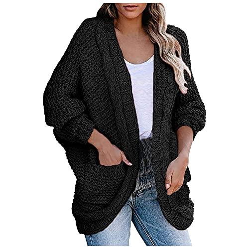 Wave166 Chaqueta de punto para mujer, larga, abierta, de punto grueso, con bolsillos, para otoño e invierno, chaqueta gruesa de softshell para montañas, elegante, Negro , M