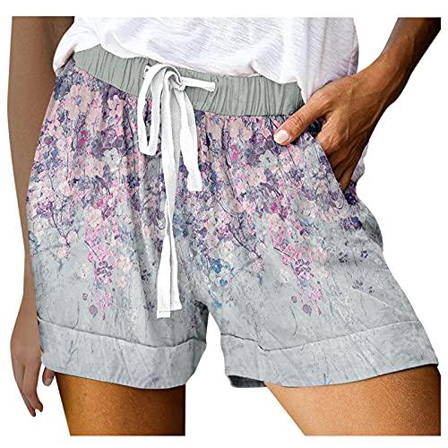 Vectry Damen Shorts Blumenmuster Kurze...