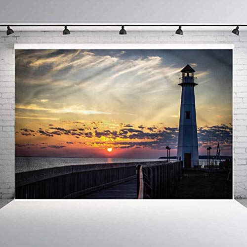 7x7FT Vinyl Photo Backdrops,Lighthouse,Michigan Sunrise USA Background Newborn Birthday Party Banner Photo Shoot Booth