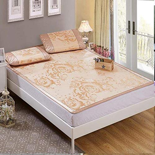 GFRYY Rattan Fiber Cooling Summer Sleeping Pad Mattress Topper Breathable Folding Ice Silk Tatami Mat (No Pillow) Summer Cooling Sleeping Pad/Beige / 180 * 200cm