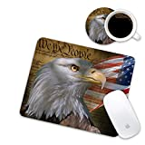 LOWORO Mouse Pad and Coasters Set, Patriotic American Flag Eagle Mouse Pad, Non-Slip Rubber Base Rectangle Mouse Pads for Laptop and Computer Office Accessories
