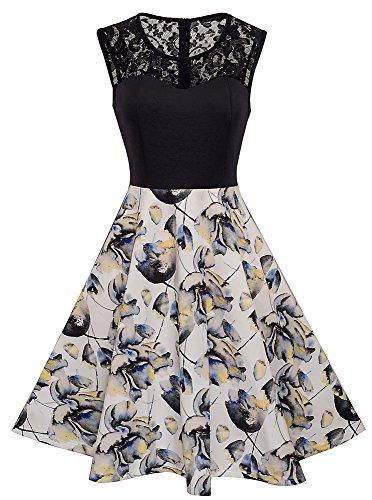 HOMEYEE Damen Elegant Spitze Rundhalsausschnitt Ärmel Mesh-A-Linie Kleid UKA008 (EU 40 (Herstellergroesse: L), Weiß)