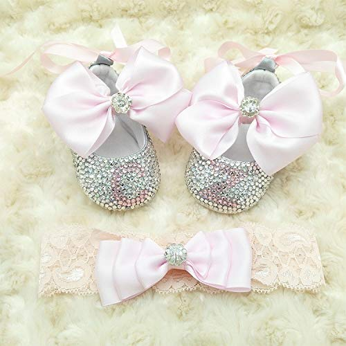 Soft Pink Satin Bow Infant Initial Shoes Baby Girl Bedazzled First Stelp Shoes Baby Gender Reveal Shoes with Headband Set