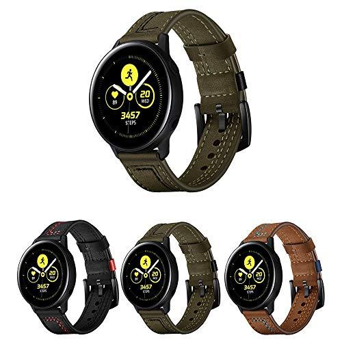 Pulseira de Couro Especial para Samsung Galaxy Watch Active 40mm e 44mm - Galaxy Watch 42mm - Gear S2 Classic - Amazfit Gtr 42mm - Amazfit Bip - Amazfit Gts - Marca Ltimports (Verde Militar)