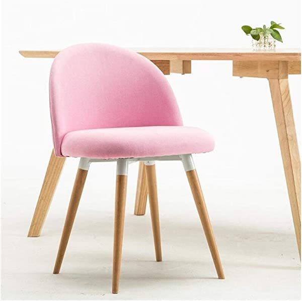 Carl Artbay Wooden Footstool Light Pink Linen Simple Cloth Chair Assemble The Chair Restaurant Solid Wood Chairs Coffee Lounge Chair Home