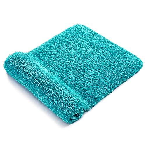 RiyaNed Alfombra de baño antideslizante, absorbente, suave y esponjosa, para bañera, ducha y baño, lavable a máquina, fácil de limpiar (azul zafiro, 60 x 90 cm)