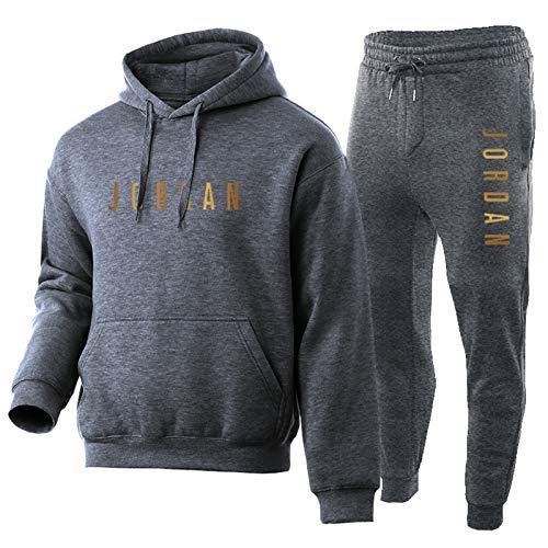 OKMJ Michael Jordan Men's Hoodie, 23 Jordan Basketball Fans Men's Sport Fitness Comfortable Pullover Sportswear, 2 Piece Suit Hoodie + Sweatpants. L