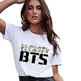 BTS Cute Koop T Shirt Women Summer White Short Sleeve Tops Kawaii Clothes
