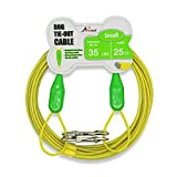 Petest 25ft Tie-Out Cable with Crimp Cover for Small Dogs Up to 35 Pounds